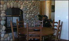 photo of dining area and fireplace