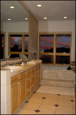 photo of master bathroom and sunset